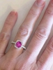 Cushion Pink Sapphire Halo Ring in 14k white gold