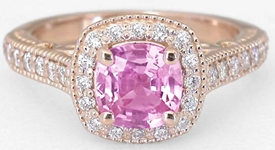 Rose Gold Pink Sapphire Ring with Diamond Halo