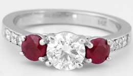 Diamond & Genuine Ruby Ring - Round Diamond and Ruby Ring in in 14k white gold