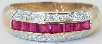 Square Cut Ruby Ring with Diamond Accents