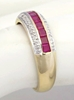 Womans Channel Set Genuine Ruby Ring in solid 14k yellow gold