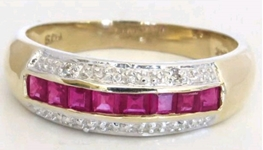 Channel Set Natural Ruby Band Ring with Diamond Accents in solid 14k yellow gold for sale