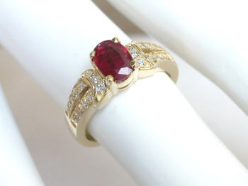 Yellow Gold Ruby and Diamond Rings in 14k
