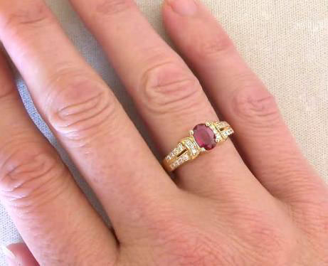 Yellow Gold Burmese Ruby Oval Ring