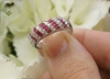Genuine Baguette Ruby Ring with Real Round Diamonds in solid 18k white gold for sale
