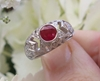 Unique Round Real Ruby Ring with Bezel set Ruby in 18k white gold
