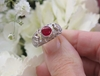 Unique Ruby Ring with Round Bezel Set in 18k white gold for sale