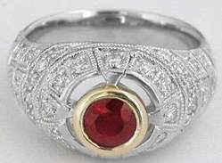 Genuine Ruby Ring- Vintage Style in 18k white gold