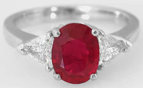 Burmese Ruby Three Stone Rings