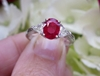 Platinum Natural Burmese Ruby Engagement Ring with Trillion Diamonds for sale. GIA report.