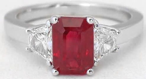 Ruby Ring - Natural Oval Burmese Ruby and Trapezoid Diamond Ring in 18k white gold