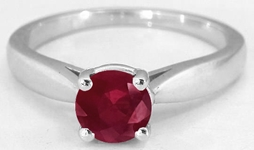 Natural Ruby Ring - Solitaire Ring in 14k white gold