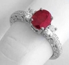 Ruby and Diamond Ring - Natural Oval Antique Style in 14k white gold