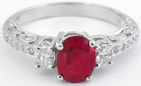 Ruby Ring - Natural Oval Vintage Style in 14k white gold