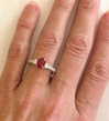 Ruby Rings - Natural Oval Ruby and Diamond Ring in 14k white gold