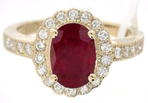 Ruby Ring - Natural Oval Ruby in Diamond Halo Setting
