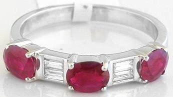 Ruby and Diamond Anniversary Band in 14k