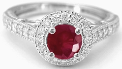 Genuine Round Ruby Ring with Diamond Halo in 14k white gold