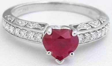 Ruby Engagement Ring -Natural Heart Shape Burmese Ruby and Diamond Engagement Ring in 14k white gold