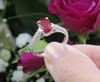 Simple Natural Burmese Ruby Solitaire Ring with Real Diamond Band in solid 14k white gold for sale