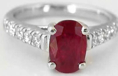 Ruby Ring - Natural Oval with Diamonds in 14k white gold