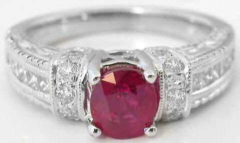 Burmese Ruby and Diamond Ring in 14k