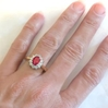 Ruby Engagment Ring - Natural Oval Ruby in Diamond Ballerina Gold Setting
