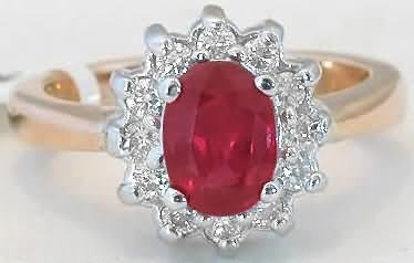 Ruby Ring - Natural Oval Ruby in Diamond Ballerina Gold Setting