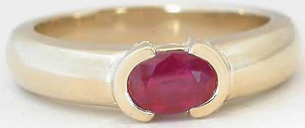 Natural Ruby Solitaire East West Set Ring in Yellow Gold