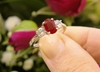 Real Oval Burmese Ruby Engagement Ring with round side natural white sapphires set in simple 14k white gold band