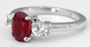Ruby Ring - 2.18 ctw Burmese Ruby and White Sapphire Ring in 14k white gold - R-5957