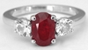 Real Oval Burmese Ruby Ring with round side natural white sapphires set in simple 14k white gold band for sale