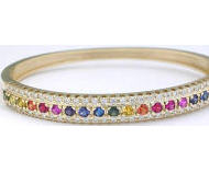 Rainbow Sapphire and Diamond Bangle