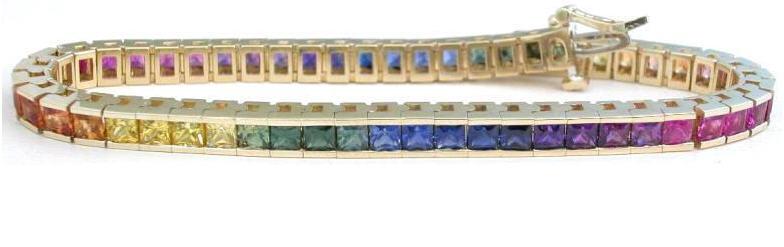 Rainbow circle bracelet with sapphires Delicate bracelet Sapphire bracelet Rainbow sapphire bracelet Multi sapphire bracelet bracelet