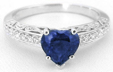 Antique Heart Sapphire Ring