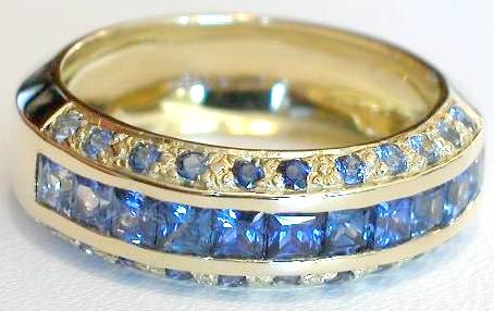 Channel Set Princess Cut Natural Blue Sapphire Band Ring in solid 14k yellow gold
