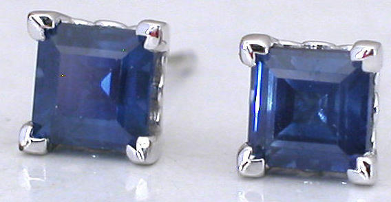Square Sapphire Earrings in White Gold