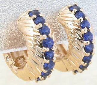 Real Blue Sapphire Hoop Earrings in Yellow Gold