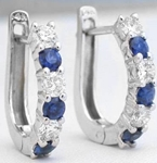 Sapphire Diamond Hoop Earrings