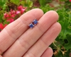 Real Blue Sapphire Stud Earrings in 14k White Gold