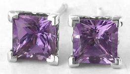 Princess Cut Purple Sapphire Stud Earrings in 14k white gold