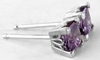 Natural Purple Sapphire Stud Earrings in 14k white gold -  Princess Cut