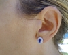 Genuine Bezel Set Oval Blue Sapphire Earrings with Diamond in14k White Gold