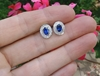 Natural Bezel Set Oval Sapphire and Diamond Halo Earrings 14k White Gold