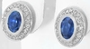Bezel Set Oval Sapphire Earrings 14k White Gold