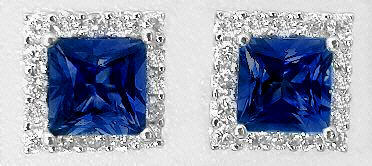 Princess Cut Sapphire Earrings