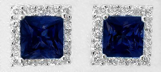 Princess Cut Real Blue Sapphire Earrings with a Diamond Halo in 14k white gold