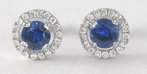 Sri Lanka Natural Blue Sapphire Earrings with Diamond Halo in 14k white gold