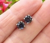 Real Dark Blue Sapphire Stud Earrings in 14k white gold