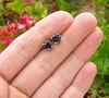 6mm round Dark Blue Sapphire Stud Earrings in 14k white gold